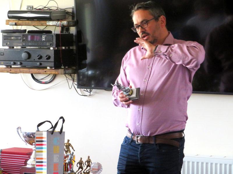Matthew presents the Under 8's awards