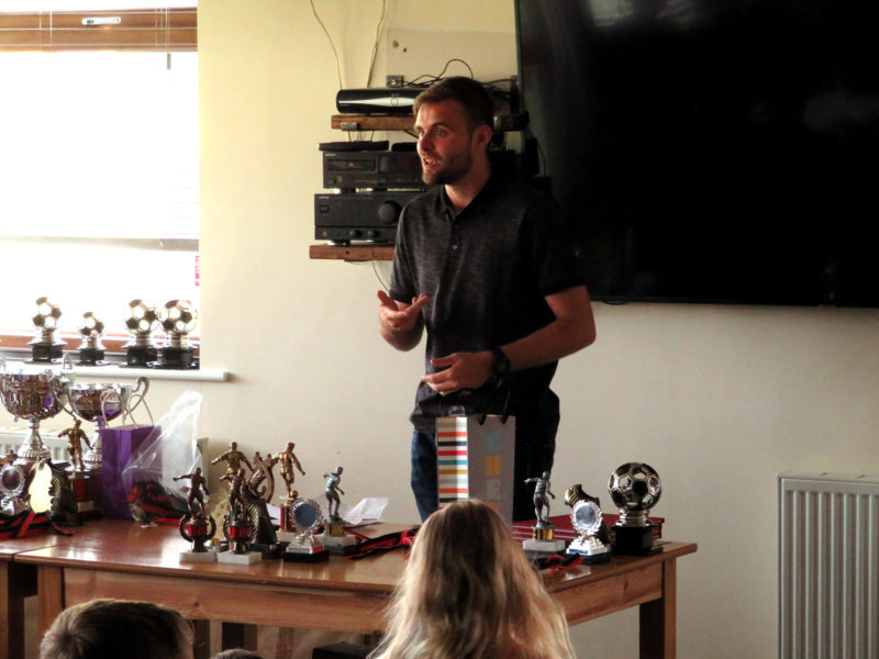 Shaun presents the Under 11's Development Team awards
