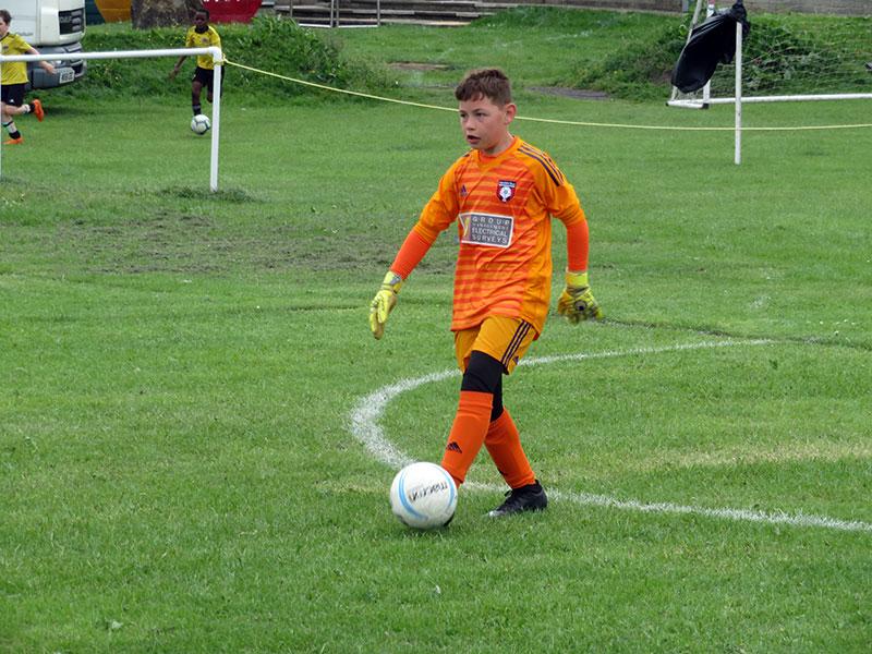 Confident keeper, Drighlington Football Gala